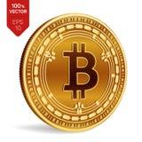 Bitcoin kassa isometriskt bitmynt för läkarundersökning 3D Digital valuta Cryptocurrency Guld- mynt med Bitcoin det kontanta symb royaltyfri illustrationer