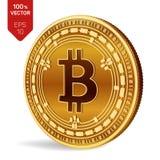 Bitcoin kassa isometriskt bitmynt för läkarundersökning 3D Digital valuta Cryptocurrency Guld- mynt med Bitcoin det kontanta symb stock illustrationer