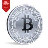 Bitcoin kassa isometriskt bitmynt för läkarundersökning 3D Digital valuta Cryptocurrency Silvermynt med Bitcoin kassasymbol vektor illustrationer