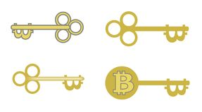 Bitcoin key disign for you project. Bitcoin key disign for you project, concept, vector illustration in a white background Stock Images