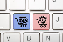Bitcoin key on keyboard Stock Images