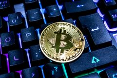 Bitcoin on keyboard royalty free stock images