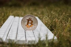 Bitcoin keyboard in grass Royalty Free Stock Images