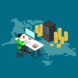 Bitcoin kopalnictwa kawałka monety usługa serweru online wektor isometric Zdjęcia Stock