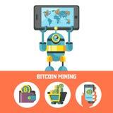 Bitcoin kopalnictwo Wektorowa konceptualna ilustracja Cryptocurrency ilustracji