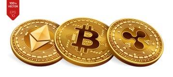 Bitcoin krusning Ethereum isometriska mynt för läkarundersökning 3D Digital valuta Crypto valuta Guld- mynt med bitcoin, krusning Fotografering för Bildbyråer