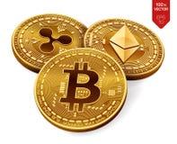 Bitcoin krusning Ethereum isometriska mynt för läkarundersökning 3D Digital valuta Crypto valuta Guld- mynt med bitcoin, krusning Royaltyfri Foto
