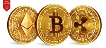Bitcoin krusning Ethereum isometriska mynt för läkarundersökning 3D Digital valuta Cryptocurrency Guld- mynt med bitcoin Arkivfoton
