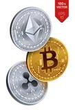 Bitcoin krusning Ethereum isometriska mynt för läkarundersökning 3D Digital valuta Cryptocurrency Silver och guld- mynt Royaltyfria Foton