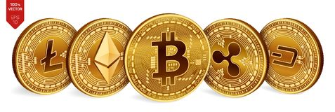 Bitcoin krusning Ethereum streck Litecoin isometriska mynt för läkarundersökning 3D Crypto valuta Guld- mynt med bitcoin, krusnin royaltyfri illustrationer