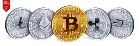 Bitcoin krusning Ethereum streck Litecoin isometriska mynt för läkarundersökning 3D Crypto valuta Guld- och silvermynt med bitcoi stock illustrationer