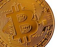 Bitcoin Läkarundersökningbitmynt Digital valuta Cryptocurrency som bryter begrepp Guld- mynt med bitcoinsymboler som isoleras på  Arkivfoton