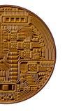 Bitcoin Läkarundersökningbitmynt Digital valuta Cryptocurrency som bryter begrepp Guld- mynt med bitcoinsymboler som isoleras på  Royaltyfri Bild