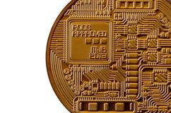 Bitcoin Läkarundersökningbitmynt Digital valuta Cryptocurrency som bryter begrepp Guld- mynt med bitcoinsymboler som isoleras på  Royaltyfria Bilder