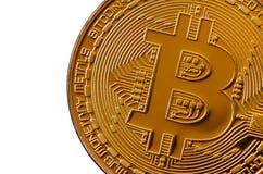 Bitcoin Läkarundersökningbitmynt Digital valuta Cryptocurrency som bryter begrepp Guld- mynt med bitcoinsymboler som isoleras på  Royaltyfria Foton