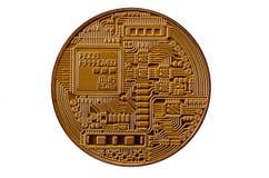 Bitcoin Läkarundersökningbitmynt Digital valuta Cryptocurrency som bryter begrepp Guld- mynt med bitcoinsymboler som isoleras på  Arkivbild