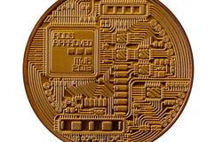 Bitcoin Läkarundersökningbitmynt Digital valuta Cryptocurrency som bryter begrepp Guld- mynt med bitcoinsymboler som isoleras på  Royaltyfri Fotografi