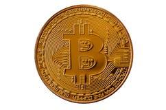 Bitcoin Läkarundersökningbitmynt Digital valuta Cryptocurrency som bryter begrepp Guld- mynt med bitcoinsymboler som isoleras på  Arkivbilder