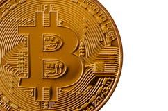 Bitcoin Läkarundersökningbitmynt Digital valuta Cryptocurrency som bryter begrepp Guld- mynt med bitcoinsymboler som isoleras på  Fotografering för Bildbyråer