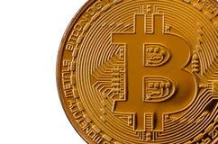 Bitcoin Läkarundersökningbitmynt Digital valuta Cryptocurrency som bryter begrepp Guld- mynt med bitcoinsymboler på vit b Arkivfoton