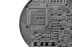 Bitcoin Läkarundersökningbitmynt Digital valuta Cryptocurrency som bryter begrepp Silvermynt med bitcoinsymboler som isoleras på  Royaltyfria Foton