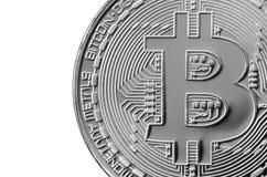 Bitcoin Läkarundersökningbitmynt Digital valuta Cryptocurrency som bryter begrepp Silvermynt med bitcoinsymboler som isoleras på  Royaltyfri Foto