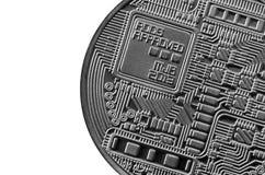 Bitcoin Läkarundersökningbitmynt Digital valuta Cryptocurrency som bryter begrepp Silvermynt med bitcoinsymboler som isoleras på  Royaltyfri Bild