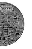 Bitcoin Läkarundersökningbitmynt Digital valuta Cryptocurrency som bryter begrepp Silvermynt med bitcoinsymboler som isoleras på  Royaltyfri Fotografi