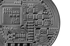 Bitcoin Läkarundersökningbitmynt Digital valuta Cryptocurrency som bryter begrepp Silvermynt med bitcoinsymboler som isoleras på  Fotografering för Bildbyråer