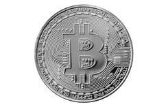 Bitcoin Läkarundersökningbitmynt Digital valuta Cryptocurrency som bryter begrepp Silvermynt med bitcoinsymboler som isoleras på  Royaltyfria Bilder
