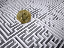 Bitcoin in the labyrinth maze Stock Photo