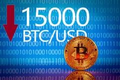 Bitcoin Lancez le prix sur le marché de bitcoin - quinze mille 15000 dollars US illustration stock