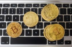 Bitcoin on laptop Royalty Free Stock Photography