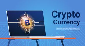 Bitcoin On Laptop Computer Monitor Digital Web Money Crypto Currency Concept Royalty Free Stock Photos