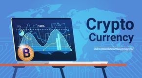 Bitcoin On Laptop Computer Over World Map Digital Web Money Crypto Currency Concept Stock Image
