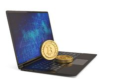 Bitcoin with laptop computer on white background 3D illustration.  royalty free stock photo