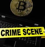 Computer bitcoin crime Royalty Free Stock Image
