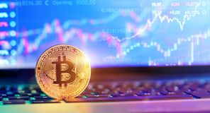Bitcoin On Laptop With Quotes And Chart Stock Photos