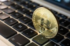 Bitcoin on laptop Royalty Free Stock Images
