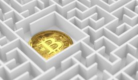 Bitcoin laying down in the labyrinth or maze. Cryptocurrencies lost in the maze of financial laws. 3D rendering. Bitcoin laying down in the labyrinth or maze stock illustration