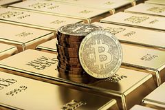 Bitcoin laying on stacked gold bars gold ingots rendered with shallow depth of field. Bitcoin as desirable as gold concept. 3D rendering Royalty Free Stock Photos
