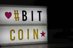 Bitcoin led light sign. Bitcoin light sign wish hashtag love star icons Stock Images
