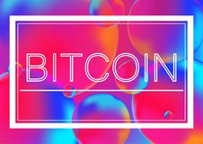 Bitcoin letters concept vector illustration on Neon color balls background with white frame. Abstract colorful 3D. Bitcoin letters concept vector illustration Royalty Free Stock Image