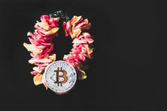 Bitcoin lies on a wreath of flowers, the concept of cryptocurrency prosperity.  royalty free stock photos