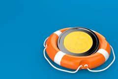 Bitcoin with life buoy. Isolated on blue background Royalty Free Stock Photo