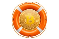 Bitcoin in the lifebuoy, protection and safety concept. 3D rende. Bitcoin in the lifebuoy, protection and safety concept. 3D Royalty Free Stock Photography