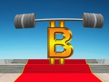 Bitcoin, lifting heavy barbell. Succes. The strong gold Bitcoin as the weightlifter is standing on the red carpet of success and lifting the very heavy barbell Stock Photo