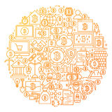 Bitcoin Line Icon Circle Design. Vector Illustration of Cryptocurrency Objects isolated over White Stock Photography