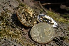 Bitcoin, litecoin и пульсация близкие вверх на расшиве стоковая фотография rf