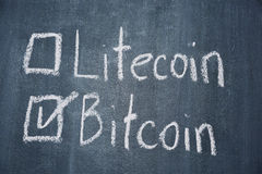 Bitcoin and Litecoin royalty free stock photo